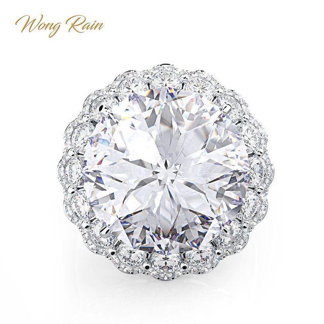 Wong Rain Anillos de Compromiso de piedras preciosas de moissanita para boda, joyería fina, Vintage, 100%, Plata de Ley 925, venta al por mayor