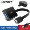 Ugreen HDMI VGA adaptörü için PS4 Pro Ahududu Pi 3 2 Chromebook TV HDMI VGA kablosu Dijital Analog Ses VGA HDMI dönüştürücü