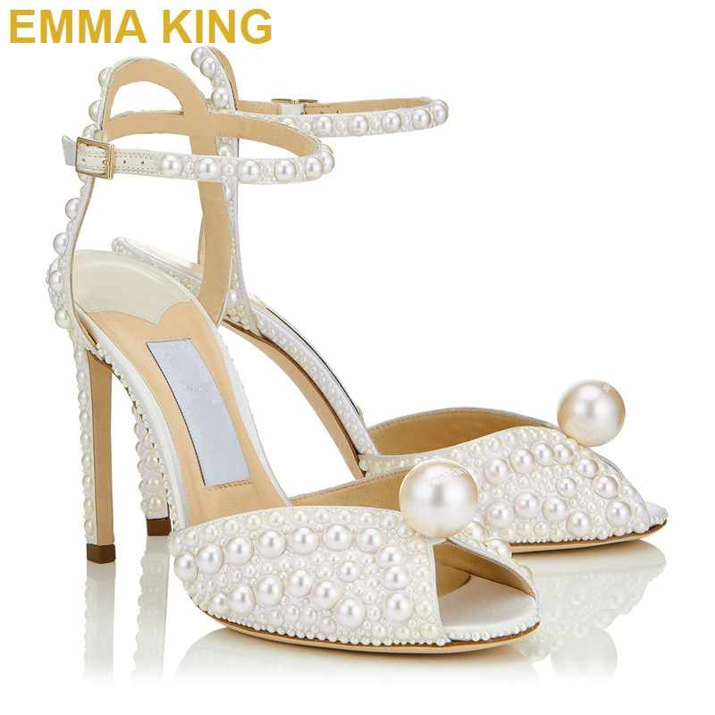 e097f6ae919 Fashion Designer Shoes Elegant Pearls Summer Sandals Ankle Strap Women  Sandals High Heels Open Toe Wedding