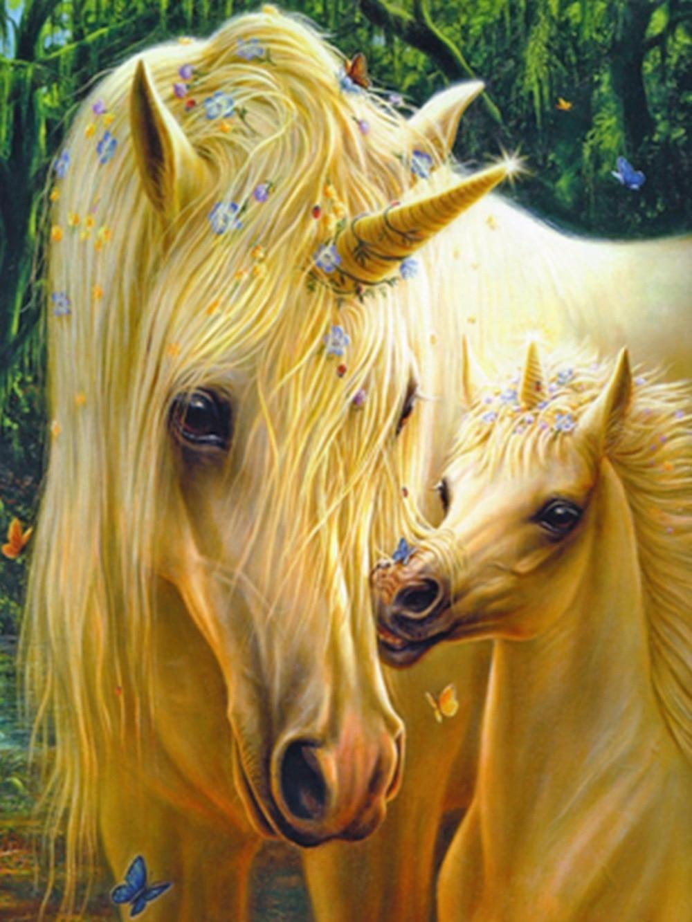 5D unicorn DIY Diamond Painting Two White Horse Crafts Direct Selling Cotton Full Needlework Diy Diamond Embroidery Kit
