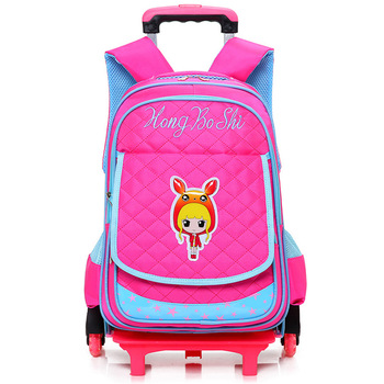 Detachable School Bags 2/6 Wheels Backpack for Girls boys Waterproof Wheeled Backpack Children Kids Schoolbag Rolling Bookbag