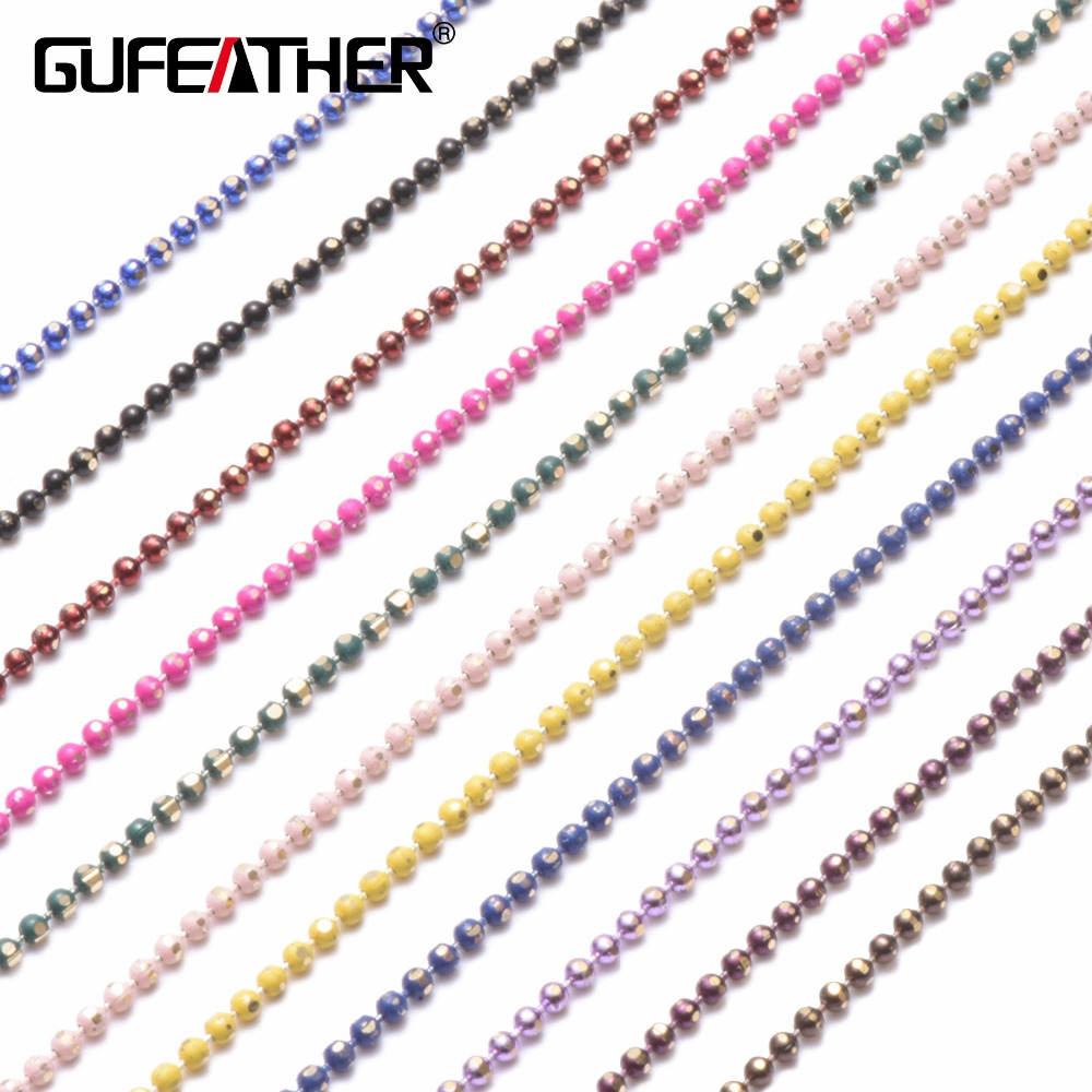 GUFEATHER C31,DIY Bead Chain,Bracelet Anklet Necklace,Accessories Material,Bead Size 1.5mm,Chain Length 5m