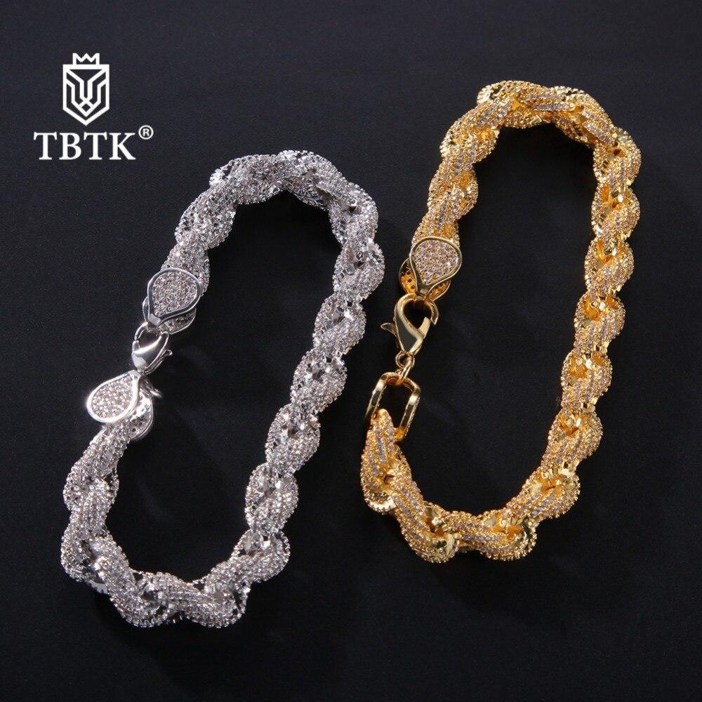 TBTK or argent pavé beau cristal Zircon chaîne & lien Bracelet 8 pouces Cool Hiphop homme Bracelet Punk fête Style unisexe