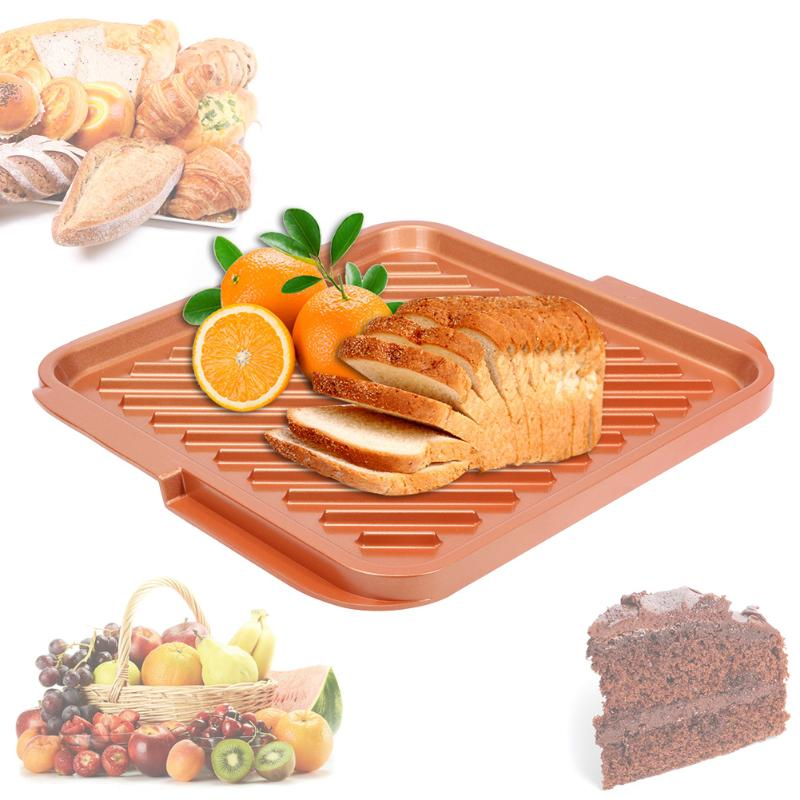 12inch Non-stick Copper Double Flat Kitchen Grill and Griddle Reversible for BBQs Kitchen Accessaries Baking Pan Cake Cooking