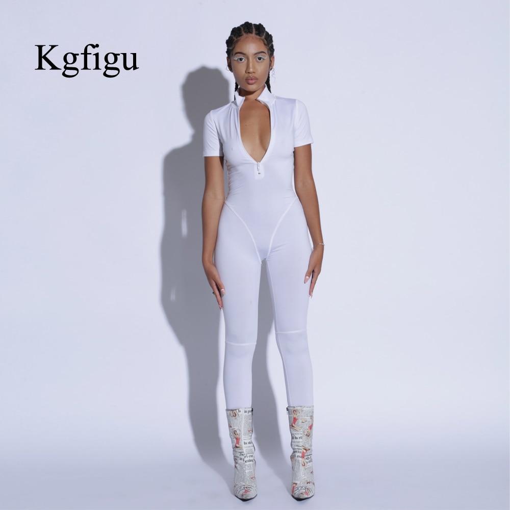 KGFIGU Women cotton rompers womens   jumpsuit   women clothes 2019 summer zipper short sleeve white skinny mono mujer largo elegante