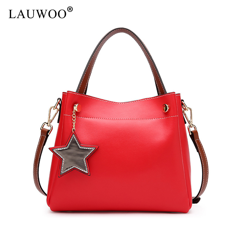LAUWOO Women Genuine Leather Handbag Pendant Fashion Casual Crossbody Bag Female Messenger Top-handle bags Ladys Shoulder Bags caerlif women crossbody bags genuine leather handbag women messenger bag splice grafting women handbag top handle shoulder bag
