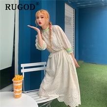 Rugod韓国カイ中空アウトサマードレス女性のファッションのレース刺繍ビーチパーティーミディドレスvestidosエレガントなフリルドレス