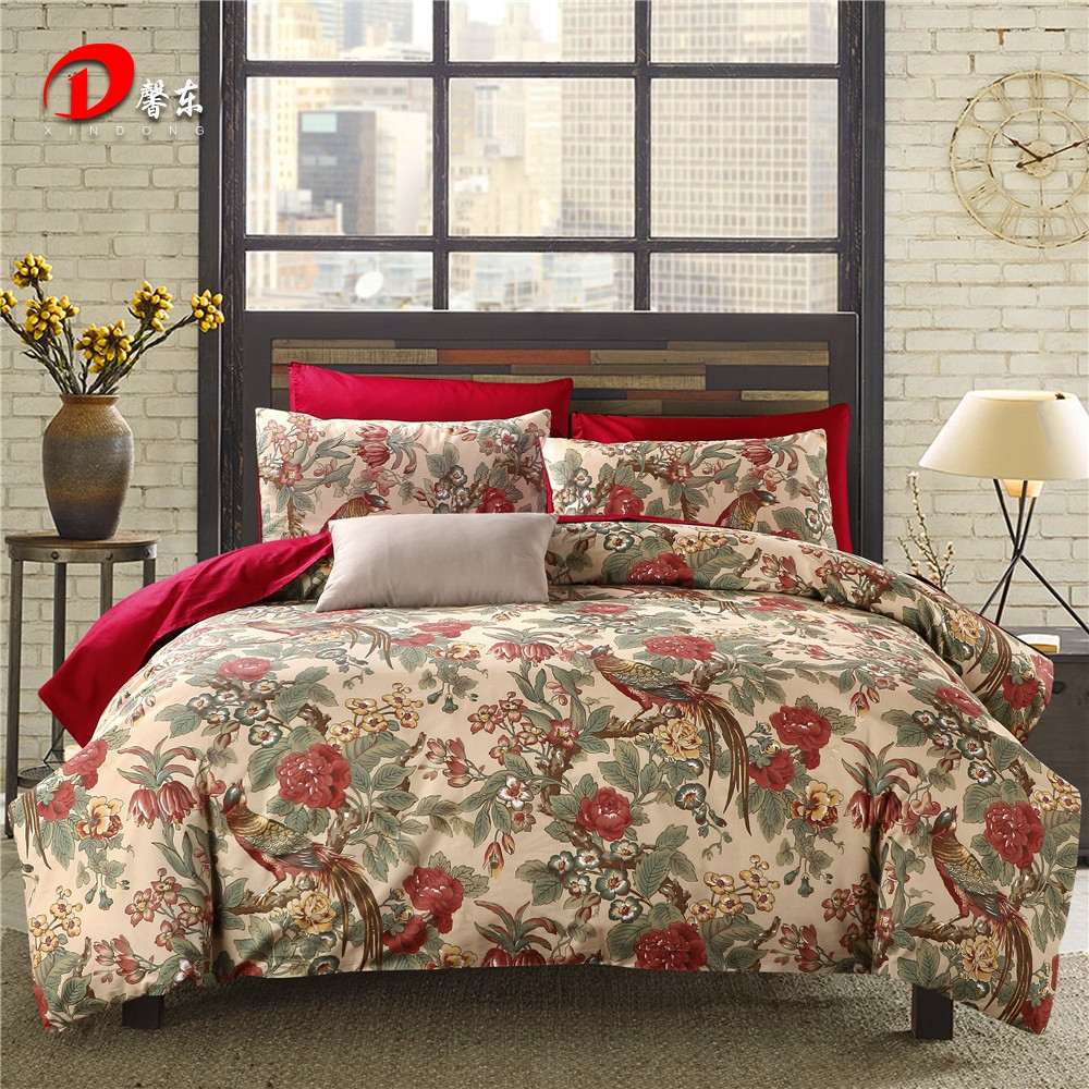 birds satin bed set luxury floral egyptian cotton bedding set king queen size high quality bed linen duvet cover set z58