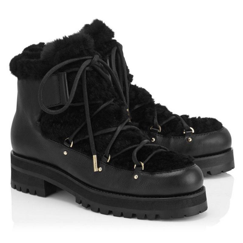 Épaissie Casual 33 Femmes En Taille Talon Femme Dames Bottes Cheville Boot Botas Carré forme Fourrure Véritable Plate Dentelle 41 Up Noir Cuir qq6aB
