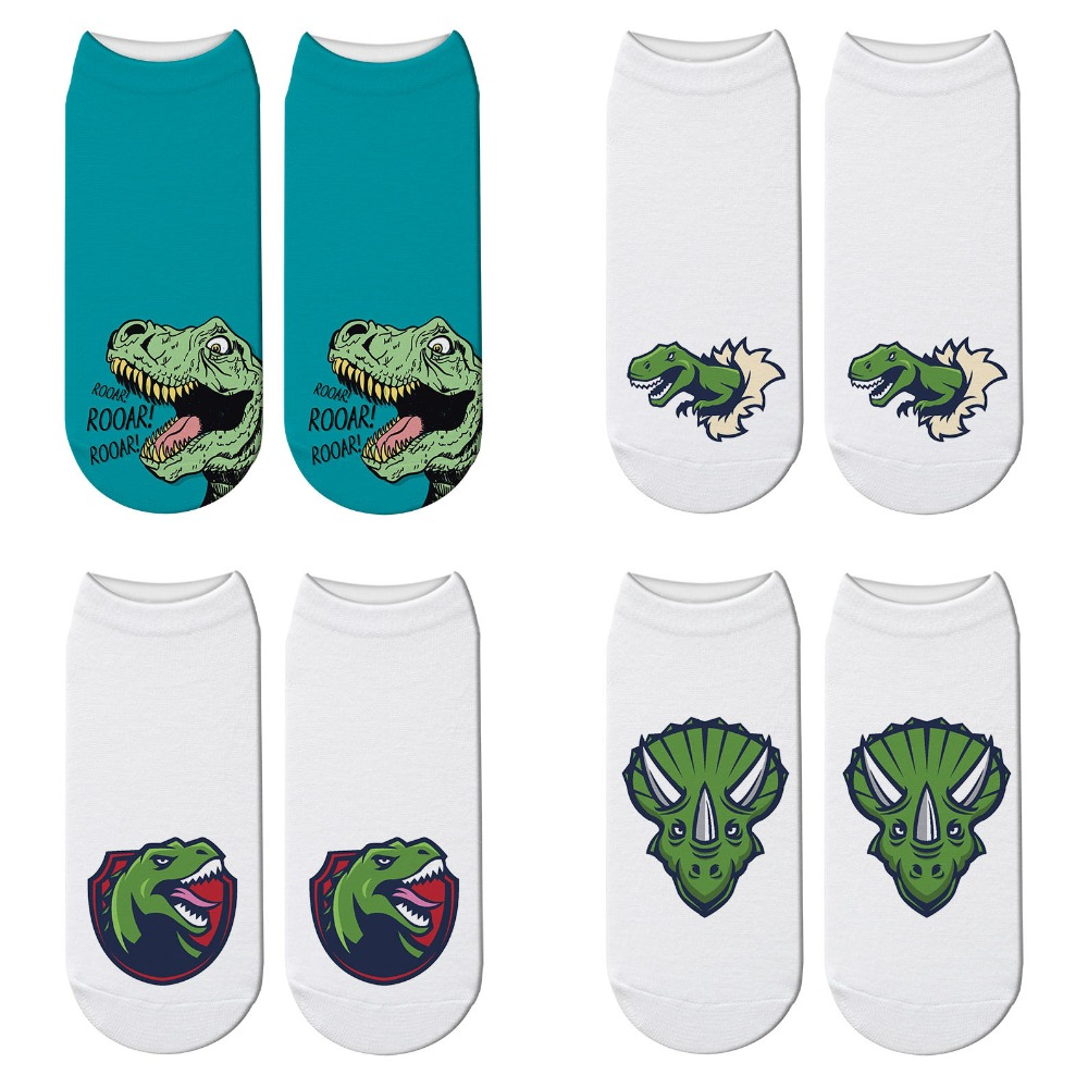 3D Printed Dinosaur Cutte Socks Women Casual Design Happy Tyrannosaurus Rex Socks Children Funny Short Ankle Socks