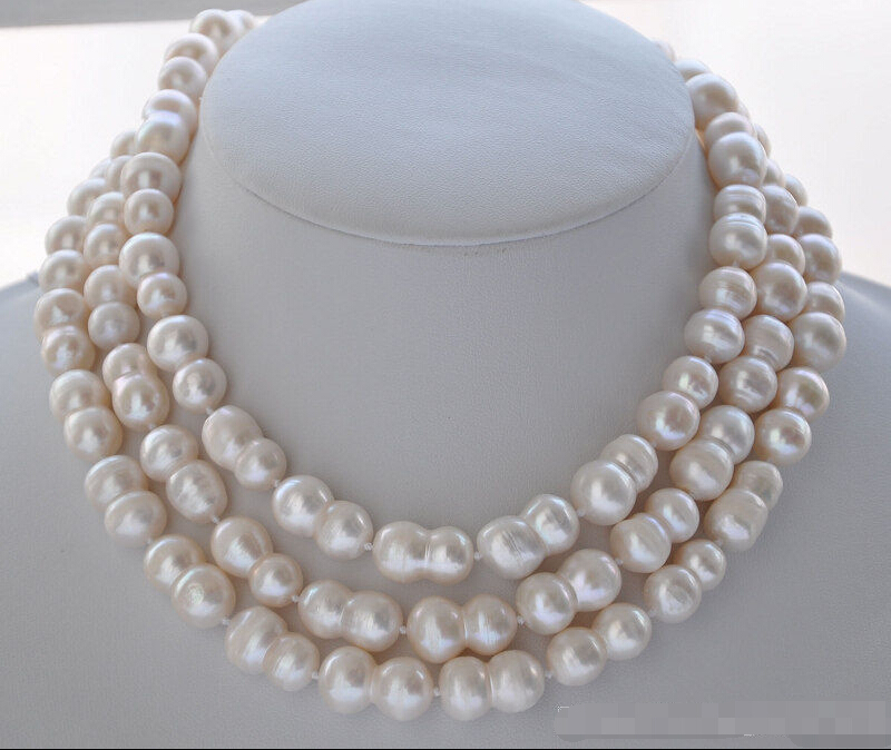 FREE SHIPPING * Z5838 NATURAL 50 20mm WHITE peanut DOUBLE BAROQUE FRESHWATER PEARL NECKLACE AAA
