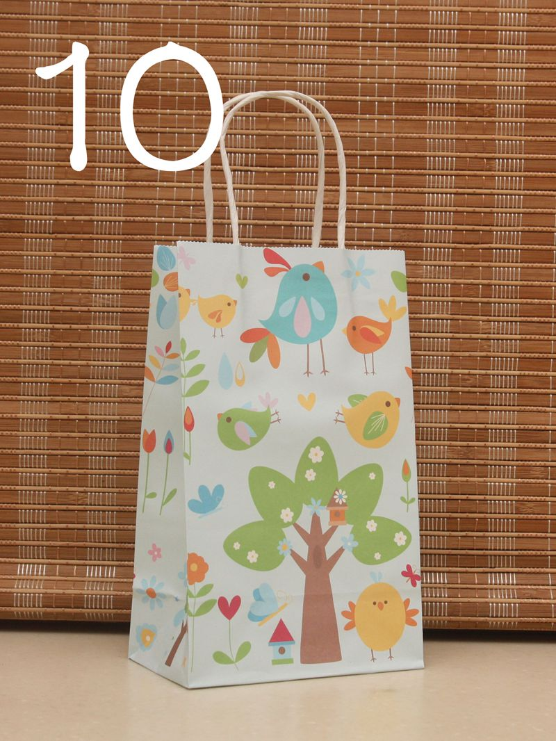 10PCS/lot NEW bird tree Kraft paper gift bag with handles 21*13*8cm Childrens day Festival gift bags baby birthday Paper bags