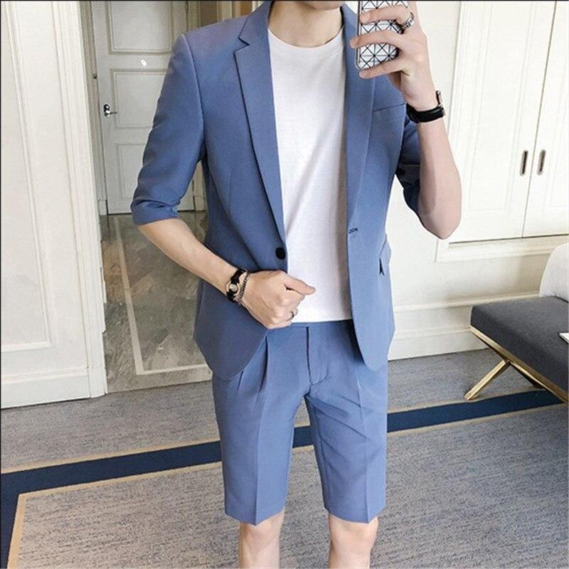 Erkek Kıyafeti'ten T. Elbise'de Gwenhwyfar 2018 Yaz Genç Erkek Takım Elbise Mavi Takım Elbise Erkek Elbise Slim Fit İngiliz Tarzı Erkek Takım Elbise Pantolon Kulübü Terno slim Fit'da  Grup 1