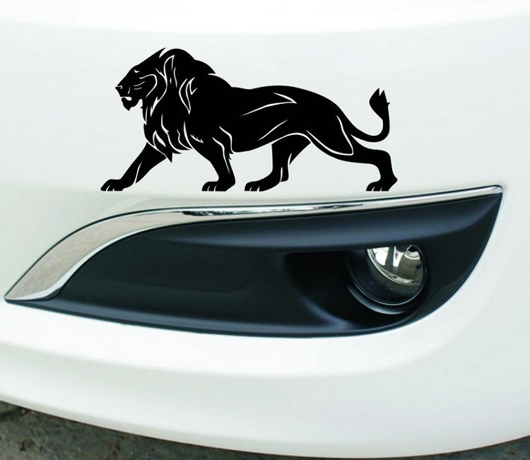 Reflective Car Stickers lion Waterproof Decal Sticker cover/anti scratch for car body Light brow front back door bumper Wh
