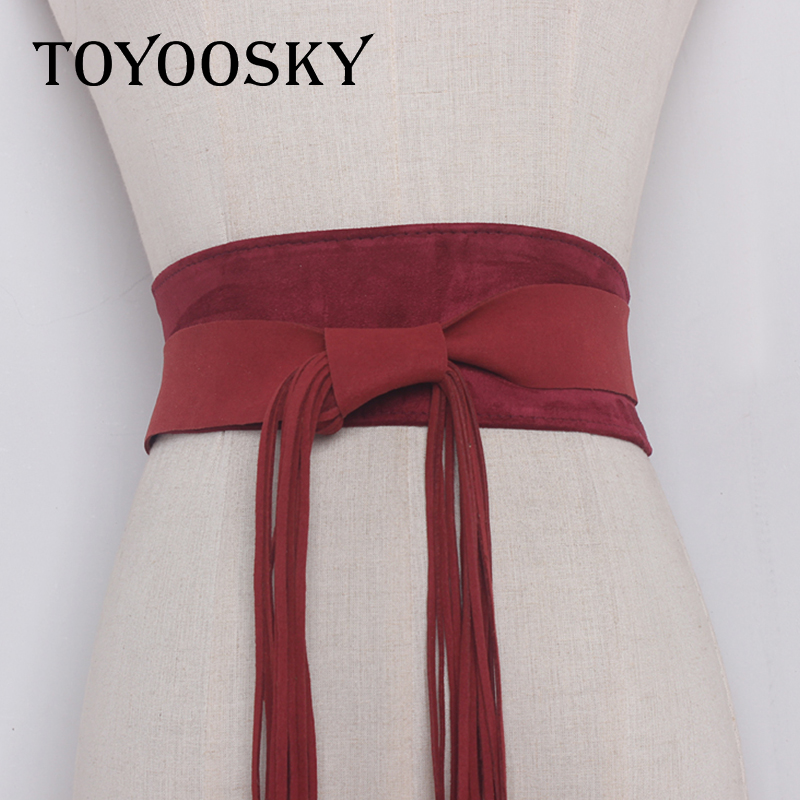 Luxury harajuku Simple Super Wide woman belt with tassel trap for women jeans Dress Wide female belts High quality in Women 39 s Belts from Apparel Accessories