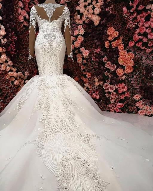Luxury Mermaid Long Sleeve Wedding Dresses 2021 robe de mariee Beaded Lace Wedding Gowns Handmade Sweep Train Bride Dress 4