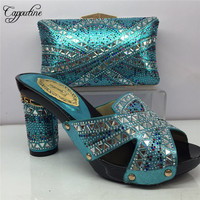 Capputine 2018 New Nigeria Ladies Shoes And Bag Set Italian Rhinestone High Heels Shoes And Bags Set To Match For Party BL905C