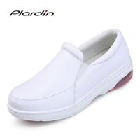 Plardin Four Seasons 2017 Woman Pure White Nurse Shoes Women Platform Soft Comfortable Air Cushion Casual