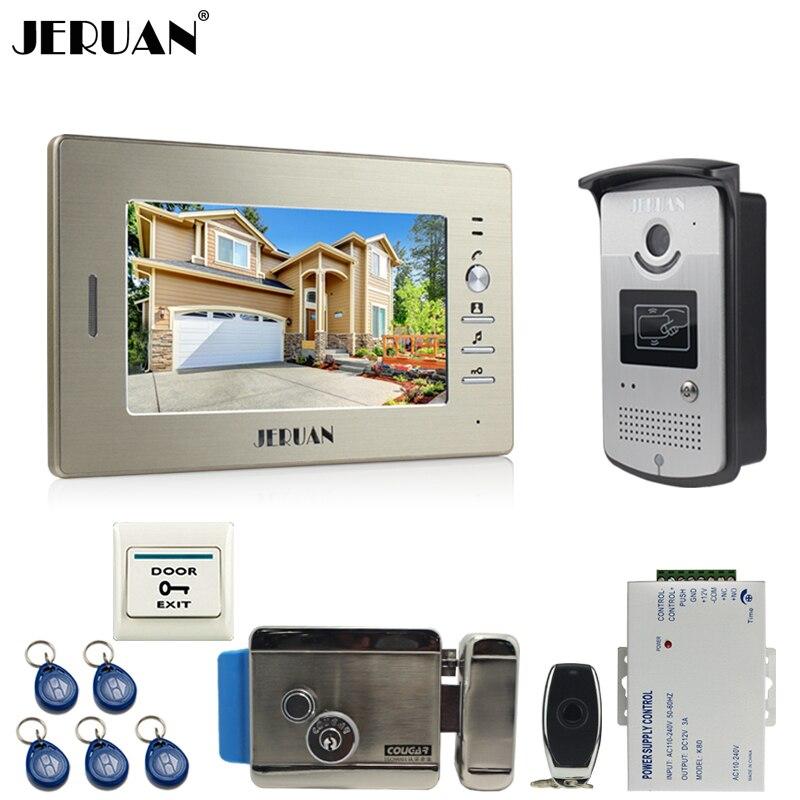 JERUAN 7 ''ЖК дисплей Экран видеодомофон видео домофон громкой связи Системы система контроля доступа + 700TVL Камера + электронный замок