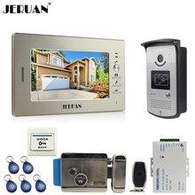 "JERUAN 7"" LCD Screen Video Intercom Video Door Phone Handsfree System access control system+ 700TVL Camera +Electronic lock"