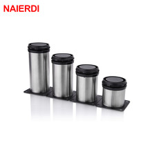 NAIERDI 5CM-30CM Furniture Adjustable Cabinet Legs Stainless Steel Table Sofa Metal Foot With Screws Home Improvement Hardware(China)