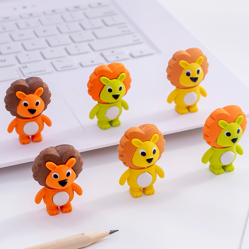 48pc/lot Creative Cartoon Cute Little Lion Animal Rubber Eraser/ Stationery For Children Students/nice Gift Eraser