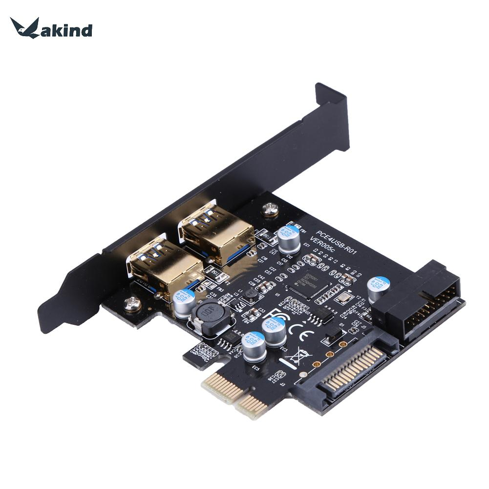 Super Speed USB 3.0 PCI-E 2 Port PCI Express Expansion Card 19-Pin Power Connector for Desktops PC