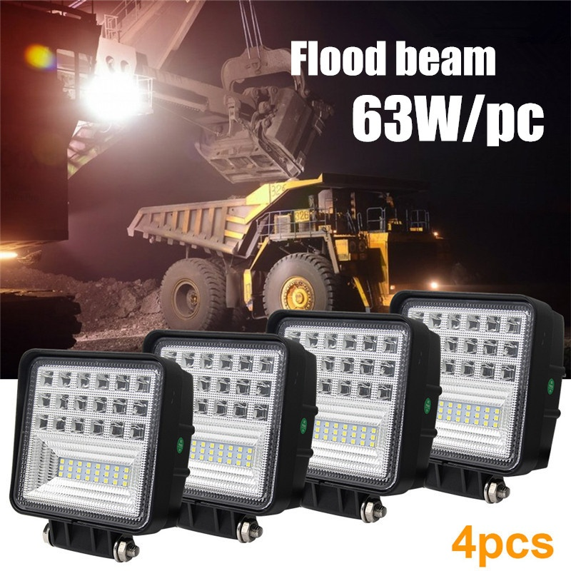 CO LIGHT 4.3 Inch 63W LED Work Light Flood LED Offroad Light Bar Auto Driving Worklight for Off road ATV Car Truck Lada 12V 24V fochutech flood 2pcs 4inch 27w led worklight light lamp off road 27w led work light 12v car led pickup truck work lights 24v
