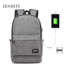 ZENBEFE Men Backpack External USB Charge School Backpack Bags For Teenagers School Bag Casual Rucksack Travel Daypack Laptop Bag недорого