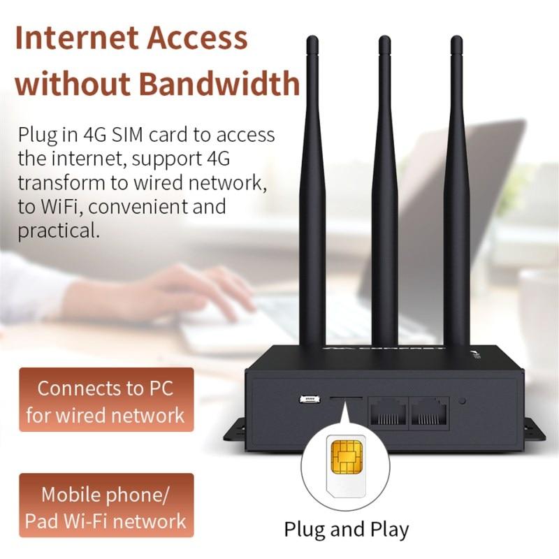Plug & play WiFi Router 4G Modem Con SIM Slot Per Schede di Punto di Accesso 2.4G outdoor AP 4G LTE Router con 3 * 5dBi forte segnale antenne