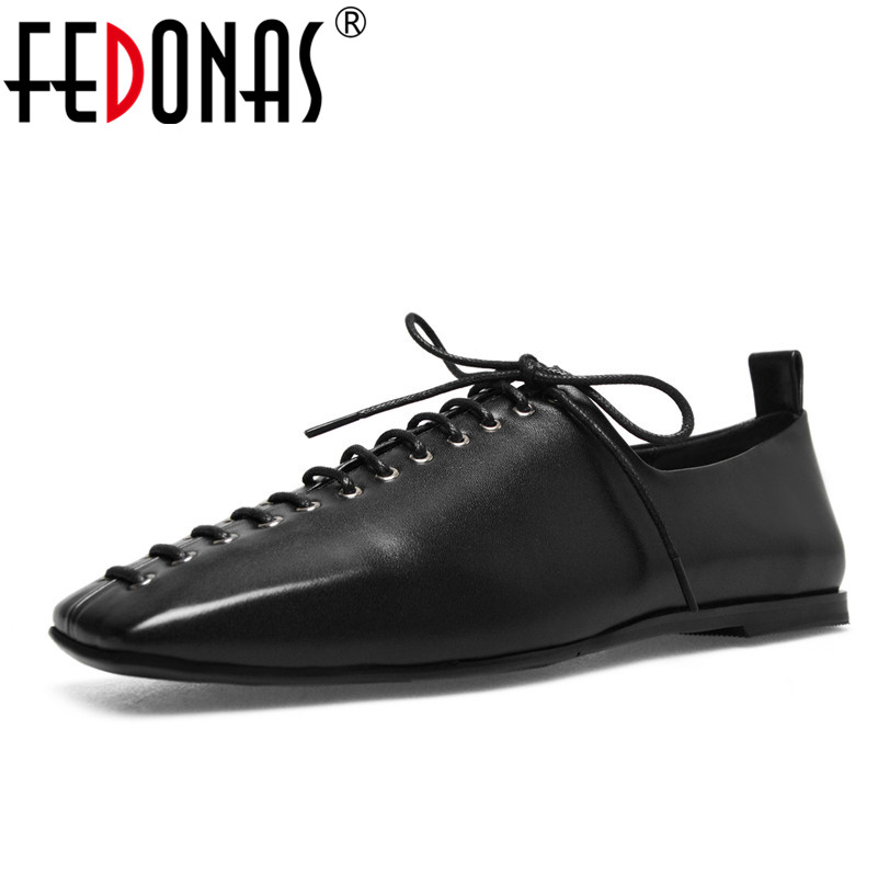 FEDONAS Fashion New Genuine Leather Soft Skin Spring Autumn Flats Heels Shoes Sexy Square Toe Lace Up Loafer Shoes Woman 2017 men shoes fashion genuine leather oxfords shoes men s flats lace up men dress shoes spring autumn hombre wedding sapatos
