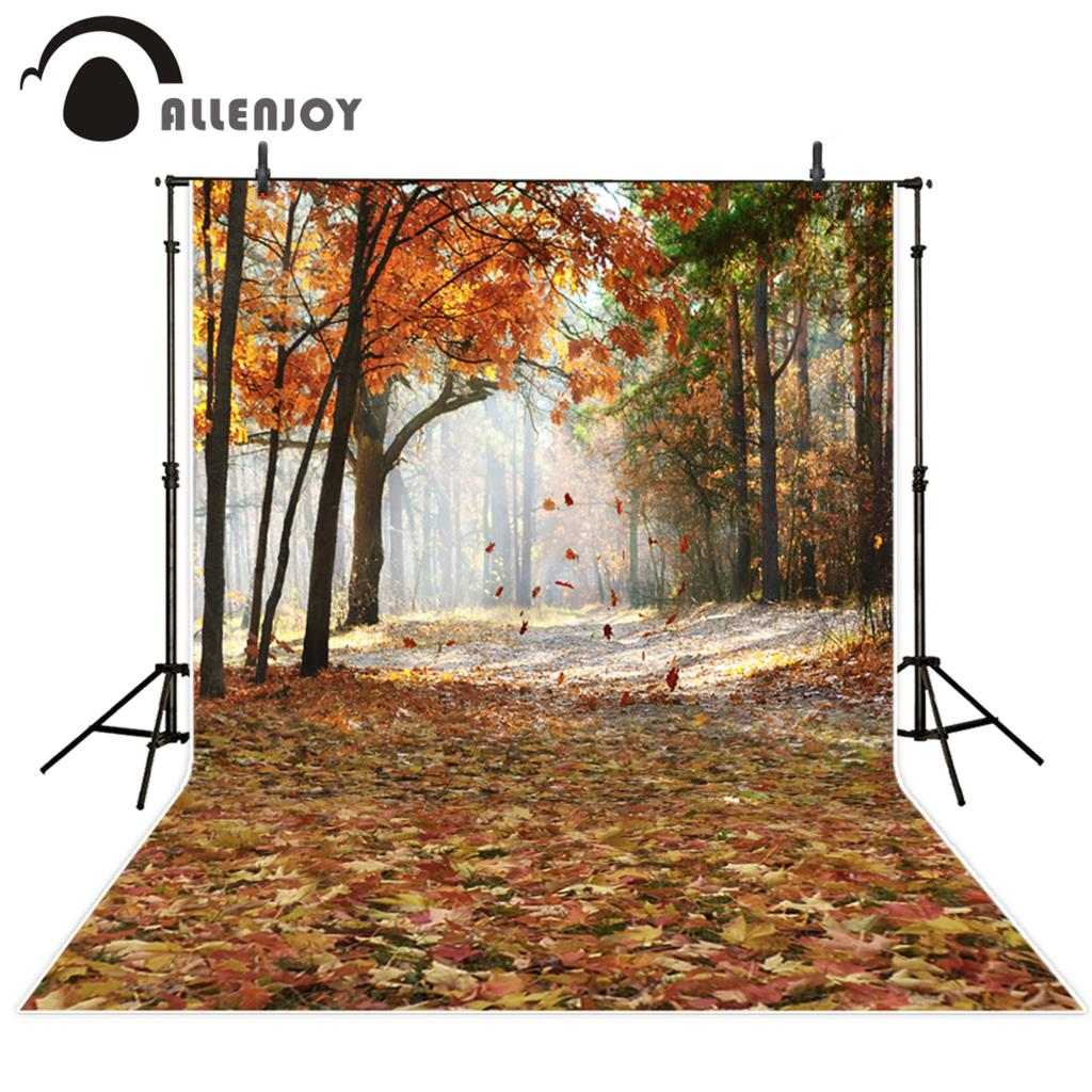 Allenjoy photography backdrops Autumn forest backgrounds smoke leaves photographic background fond studio photo vinyl photocall
