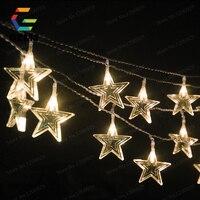 10 meter 6cm Großen Stars LED Weihnachten Wasserdichte Outdoor Fee Licht Romantische Sternen Lichter LED String Licht Dekoration