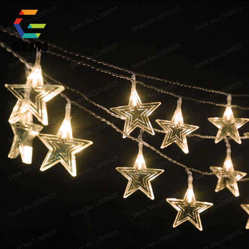 10 meters 6cm Big Stars LED Christmas Waterproof Outdoor ...