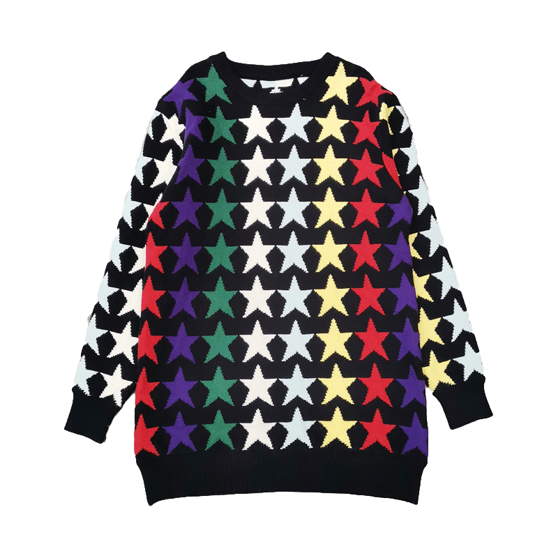 Luxury Designer Brand Knitted Sweater for Women O Neck Multicolor Star Contrast Loose Pullovers