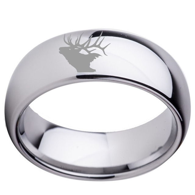 8mm Tungsten Men S Plain Dome Polished Wedding Band Ring Engraved Elk Antlers Outside Christmas Gift Size