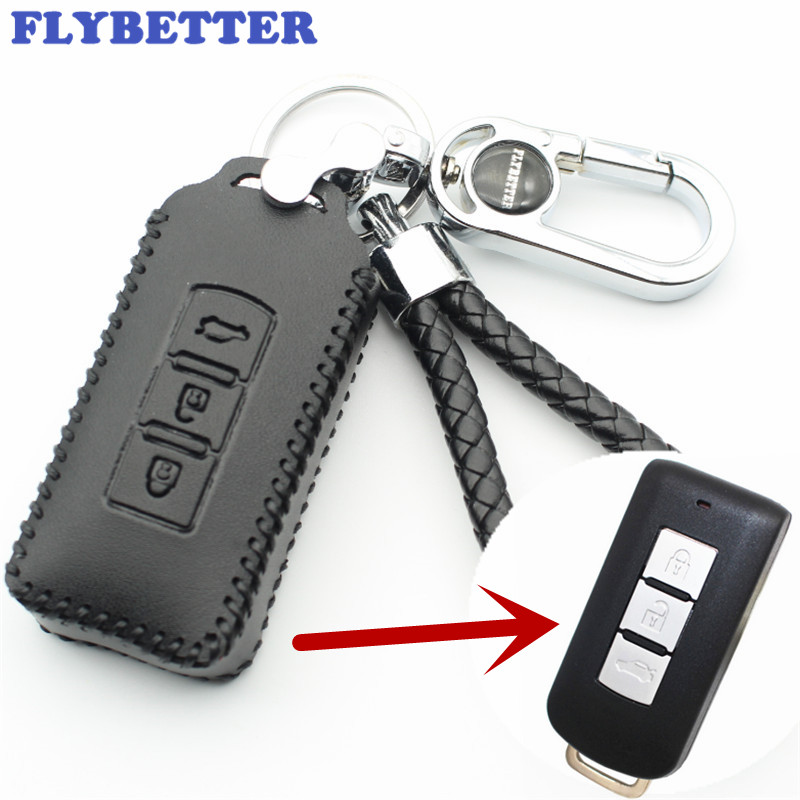 FLYBETTER Genuine Leather 3Button Smart Key Case Cover For Mitsubishi Outlander/Lancer /Pajero Sport /ASX Car Styling (B) L1651 mewant black genuine leather black suede car steering wheel cover for mitsubishi lancer ex outlander asx colt pajero sport