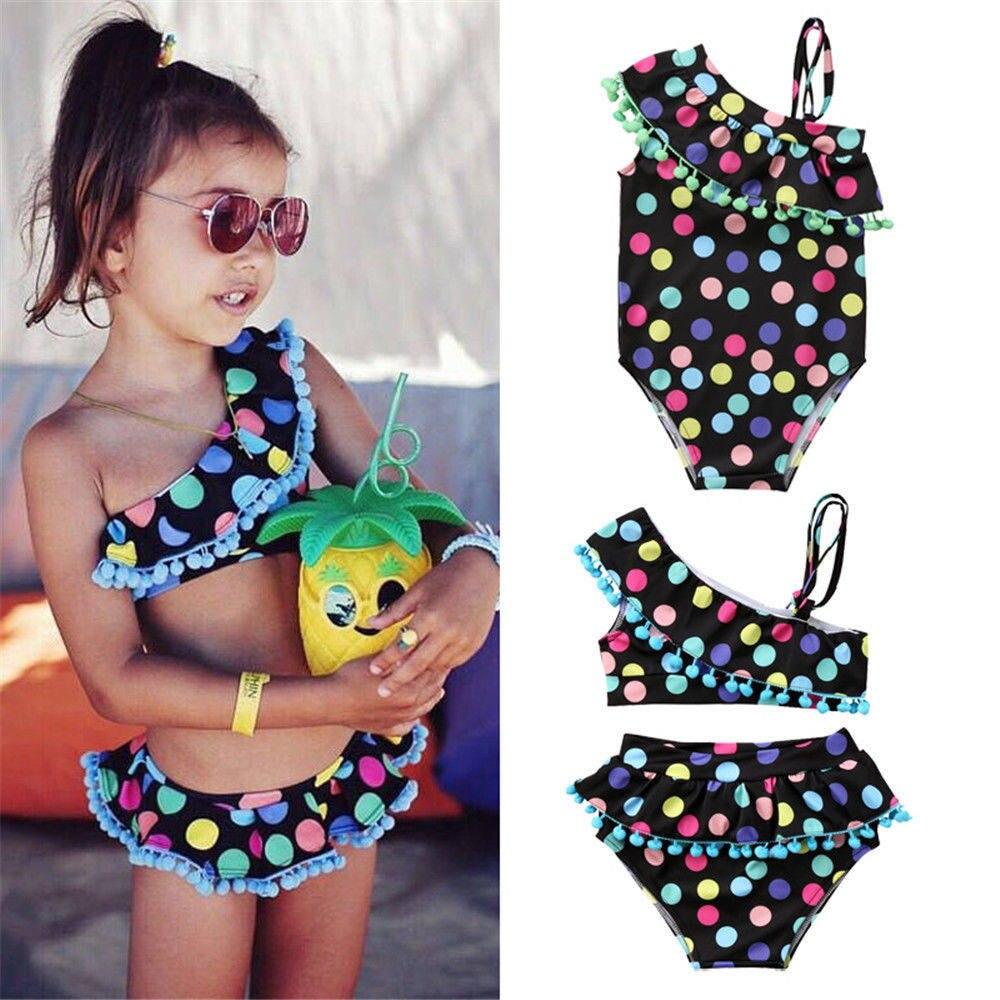1f3dd5f3f2f Kids Girls Bikini Set 2018 Sweet Girls Rainbow Dots Tassel One Piece  Swimsuit Swimwear Bathing Swimsuit. US  5.78. Fashion Summer Clothes Set Baby  Girl Vest ...
