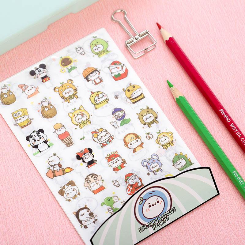 6 pcs/lot DIY Cute Kawaii PET Diary Stickers Cartoon Animal Decorative Paper Sticker For Photo Album Free Shipping 3406 japan imports midori planner calendar decorative stickers cute animal 5pcs