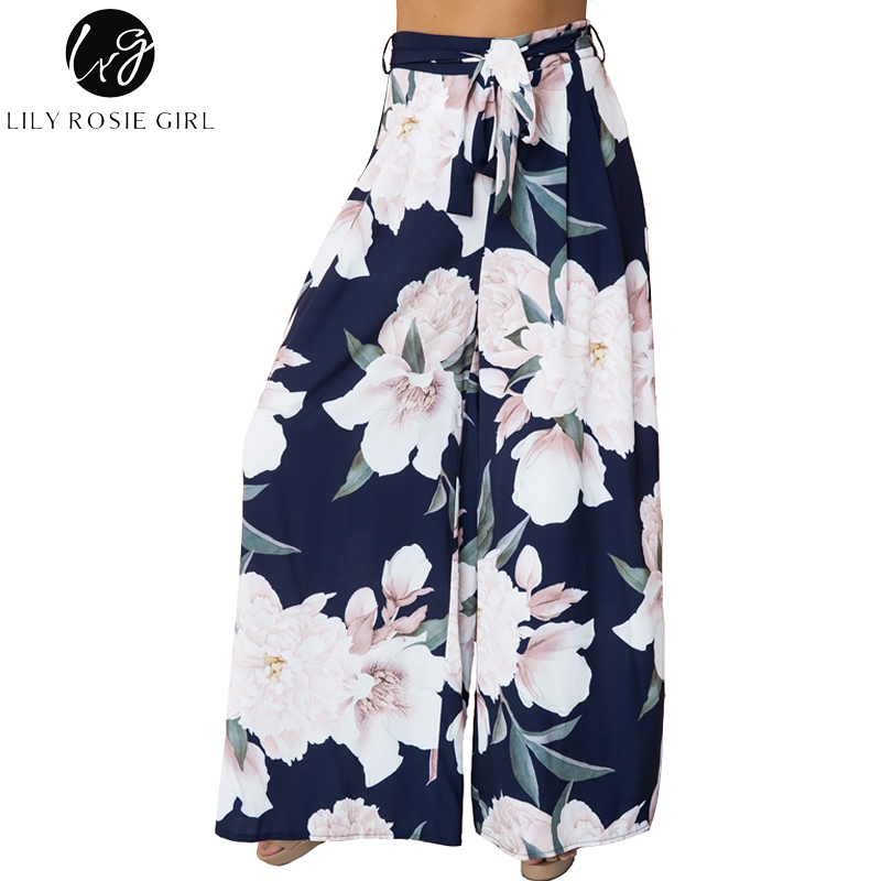 Lily Rosie Girl Floral Print Wide Leg Pants Women Long Casual Pant Summer Boho Beach Elastic High Waist Chiffon Trousers