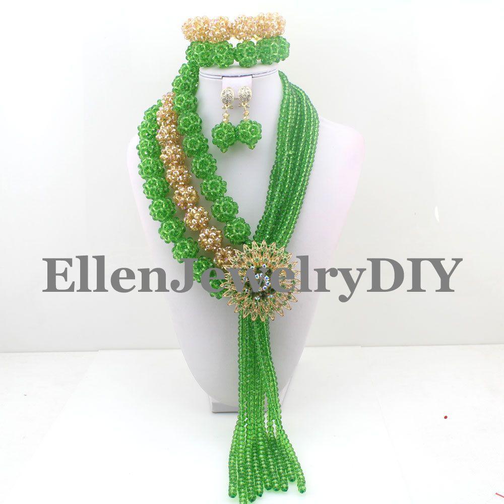 Plus chaud 2019 bijoux pour femmes perles de cristal ensemble de bijoux africains nigérian collier de mariage livraison gratuite W9023