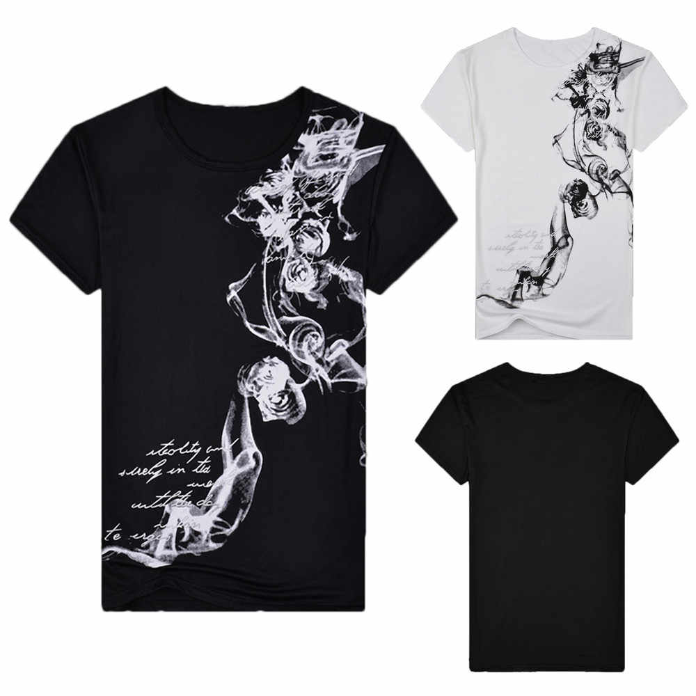 Causal Men's  Slim Printed Floral Short Sleeve T Shirt Summer Cotton Black And White Solid Comfortable Top Blouse one piece