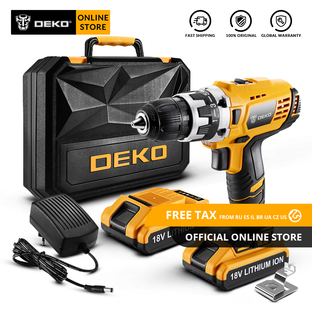 Original DEKO GCD18DU2 18V Cordless Drill Electric Screwdriver Lithium-Ion Mini Power Driver Variable Speed with LED LightOriginal DEKO GCD18DU2 18V Cordless Drill Electric Screwdriver Lithium-Ion Mini Power Driver Variable Speed with LED Light