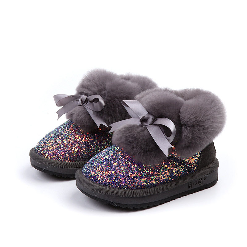 Warm Thick Soft Rabbit Fur Girls Snow Boots Beautiful Bling Sequin Bow Tie  Girls Fashion Boots Kids Winter Shoes 57-in Boots from Mother   Kids on ... a2a1bcf9333e