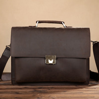 Men's Genuine crazy horse Leather briefcase with dial lock 15 inch Vintage Business bag Cowhide Laptop Handbag Mens Work tote