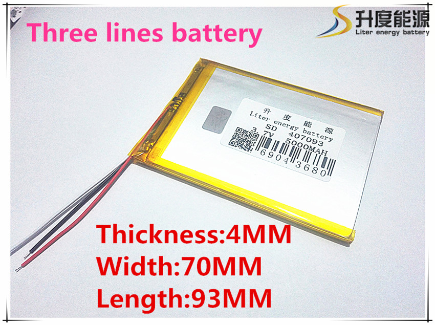 3 line 407093 3.7V 5000MAH Tablet update Battery For 7