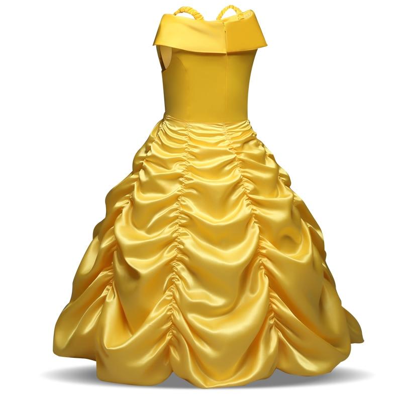 4 6 8 9 10 Girls Cosplay Dresss Elsa Cinderella Kids Shoulderless Yellow Fancy Dress Princess Childrens Costumes Party Clothes
