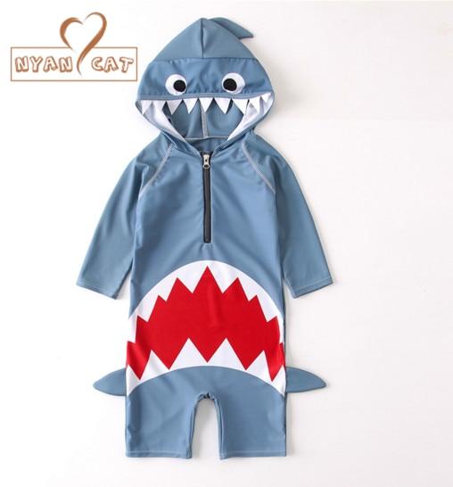 Nyan Cat 2017 summer baby boys girls hooded swimwear  shark swimming suit infant toddler kids children spa beach bathing costume