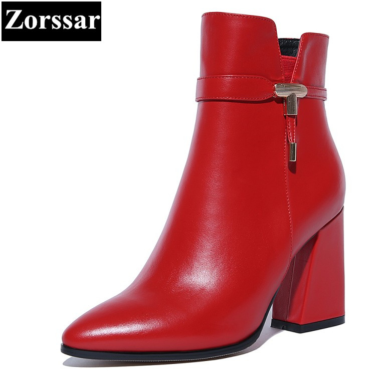 {Zorssar} 2017 NEW ladies big size shoes Genuine Leather pointed Toe High heels ankle equestrian boots fashion womens shoes new 2017 spring summer women shoes pointed toe high quality brand fashion womens flats ladies plus size 41 sweet flock t179