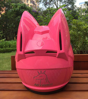 NITRINOS Motorcycle Helmet Cat Horns Moto Helmet Motorbike Helmet Casco Moto Modular Women Cat Helmet Full